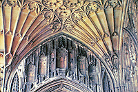 Gloucester Cathedral: Detail of fan vaulting in cloister. Gloucester, England. Gothic style