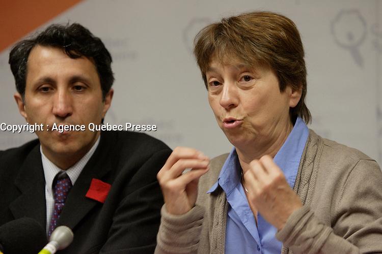 Montreal (Qc) CANADA - April, 2012 File Photo - Quebec Solidaire co leaders Amir Khadir (L), Francoise David (R).