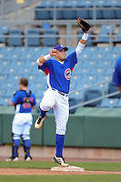 First baseman Joseph Matijevic (38) of Norwin High School in North Huntington, Pennsylvania playing for the Chicago Cubs scout team during the East Coast Pro Showcase on August 1, 2013 at NBT Bank Stadium in Syracuse, New York.  (Mike Janes/Four Seam Images)