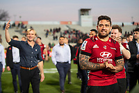 Codie Taylor celebrates winning the 2020 Super Rugby match between the Crusaders and Highlanders at Orangetheory Stadium in Christchurch, New Zealand on Saturday, 9 August 2020. Photo: Joe Johnson / lintottphoto.co.nz