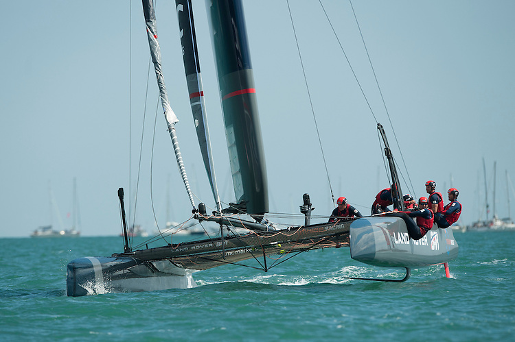 25 July 2015: Land Rover BAR in action during the America's Cup first round racing off Portsmouth, England (Photo by Rob Munro)