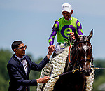 June 8, 2019 : #4, Rushing Fall, ridden by jockey Javier Castellano, wins the Longines Just a Games Stakes on Belmont Stakes Festival Saturday at Belmont Park in Elmont, New York. Kaz Ishida/Eclipse Sportswire/CSM