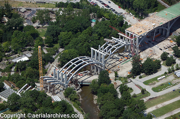aerial view above highway overpass construction Cleveland Ohio