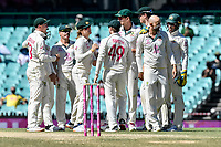 11th January 2021; Sydney Cricket Ground, Sydney, New South Wales, Australia; International Test Cricket, Third Test Day Five, Australia versus India; captain Tim Paine of Australia congratulate Nathan Lyon on taking the wicket of Ajinkya Rahane of India