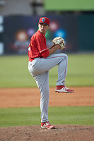 Lakewood BlueClaws relief pitcher Jonathan Hennigan (18) in action against the Kannapolis Intimidators at Kannapolis Intimidators Stadium on April 8, 2018 in Kannapolis, North Carolina.  The Intimidators defeated the BlueClaws 4-3 in game two of a double-header.  (Brian Westerholt/Four Seam Images)