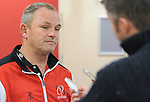 Ulsters head coach Mark Anscombe talks to the media <br /> <br /> Rugby - Scarlets V Ulster - Rabo Direct Pro 12- Saturday 02nd November 2013 - Parc y Scarlets  - Llanelli <br /> <br /> © www.sportingwales.com- PLEASE CREDIT IAN COOK