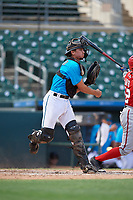 Miami Marlins catcher Cameron Barstad (6) throws down to second base during an Instructional League game against the Washington Nationals on September 25, 2019 at Roger Dean Chevrolet Stadium in Jupiter, Florida.  (Mike Janes/Four Seam Images)