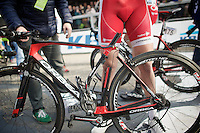 Adrien Petit (FRA/Cofidis) was involved in a huge crash in the final kilometer of the race that decimated the peloton and left many riders on the asphalt. His bike is now ready for the scrapyard, but not before crossing the finish line and so officially finishing the race.<br /> <br /> 103rd Scheldeprijs 2015