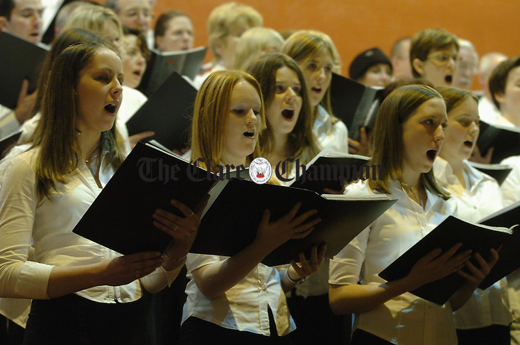 Members of the Lismorahaun Singers in full voice during their Christmas Sing-a-long Concert in Clarecastle church. Photograph by John Kelly.