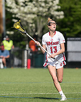 NEWTON, MA - MAY 14: Audrey Fantazzia #13 of University of Massachusetts looks to pass during NCAA Division I Women's Lacrosse Tournament first round game between University of Massachusetts and Temple University at Newton Campus Lacrosse Field on May 14, 2021 in Newton, Massachusetts.