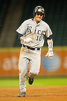 Craig Manuel #10 of the Rice Owls hustles towards third base against the Tennessee Volunteers at Minute Maid Park on March 4, 2012 in Houston, Texas.  The Owls defeated the Volunteers 11-1.  Brian Westerholt / Four Seam Images