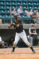 Bristol Pirates designated hitter Mikell Granberry (7) at bat during a game against the Greeneville Reds at Pioneer Field on June 19, 2018 in Greeneville, Tennessee. Bristol defeated Greeneville 10-2. (Robert Gurganus/Four Seam Images)