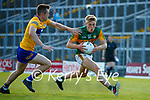 Killian Spillane, Kerry, in action against Ciaran Russell, Clare, during the Munster Football Championship game between Kerry and Clare at Fitzgerald Stadium, Killarney on Saturday.