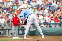 North Carolina Tar Heels pitcher Chris McCue #17 pitches during Game 3 of the 2013 Men's College World Series between the North Carolina State Wolfpack and North Carolina Tar Heels at TD Ameritrade Park on June 16, 2013 in Omaha, Nebraska. The Wolfpack defeated the Tar Heels 8-1. (Brace Hemmelgarn/Four Seam Images)