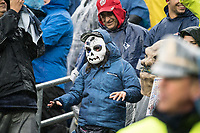 FOXBOROUGH, MA - OCTOBER 27: Patriot's fan with Halloween mask during a game between Cleveland Browns and New Enlgand Patriots at Gillettes on October 27, 2019 in Foxborough, Massachusetts.