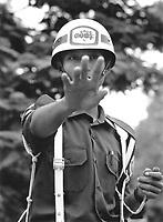 Nic Dunlop / Panos Pictures..Mandalay, BURMA..A military policeman in Mandalay Palace.