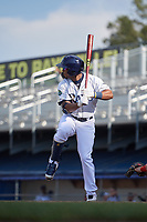 Princeton Rays shortstop Wander Franco (6) at bat during the first game of a doubleheader against the Johnson City Cardinals on August 17, 2018 at Hunnicutt Field in Princeton, Virginia.  Johnson City defeated Princeton 6-4.  (Mike Janes/Four Seam Images)