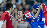 GRENOBLE, FRANCE - JUNE 15: WWC 2019 Canada fans during a game between New Zealand and Canada at Stade des Alpes on June 15, 2019 in Grenoble, France.