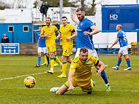 18th April 2021; Stair Park, Stranraer, Dumfries, Scotland; Scottish Cup Football, Stranraer versus Hibernian; Ayrton Sonkur of Stranraer fouls Ryan Porteous of Hibernian in the box and Hibs are awarded a penalty