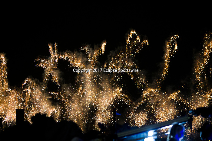 DUBAI,UNITED ARAB EMIRATES-MARCH 25: Fireworks after Dubai World Cup at Meydan Racecourse on March 25,2017 in Dubai,United Arab Emirates (Photo by Kaz Ishida/Eclipse Sportswire/Getty Images)