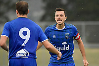 Kieran McMinn of Petone FC celebrates a goal with Samuel Pickering of Petone FC during the Central League Football - Petone FC v Lower Hutt AFC at Petone Memorial Park, Lower Hutt, New Zealand on Friday 2 April 2021.<br /> Copyright photo: Masanori Udagawa /  www.photosport.nz