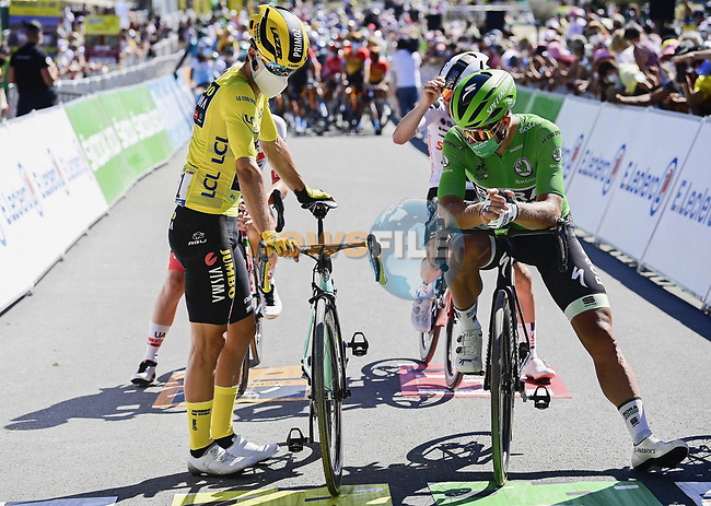 Yellow Jersey Primoz Roglic (SLO) Team Jumbo-Visma and Green Jersey Peter Sagan (SVK) Bora-Hansgrohe line up for the start of Stage 10 of Tour de France 2020, running 168.5km from Ile d'Oléron to Ile de Ré, France. 8th September 2020.<br /> Picture: Bora-Hansgrohe/BettiniPhoto | Cyclefile<br /> All photos usage must carry mandatory copyright credit (© Cyclefile | Bora-Hansgrohe/BettiniPhoto)
