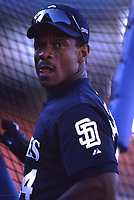 Ricky Henderson of the San Diego Padres during a 2001 season MLB game at Dodger Stadium in Los Angeles, California. (Larry Goren/Four Seam Images)