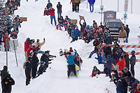 Saturday, March 3, 2012  Anjanette Steer runs down the Cordova Hill as spectaors look on during the  Ceremonial Start of Iditarod 2012 in Anchorage, Alaska.