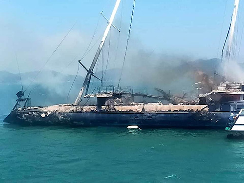 Phocea caught fire yesterday off an island near Langkawi, Malaysia
