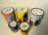 File Photo<br /> <br /> Cans of paint, a hazardous household waste.<br /> <br /> <br /> Mandatory Credit: Photo by Pierre Roussel- Images Distribution. (©) Copyright 2004 by Pierre Roussel <br /> <br /> NOTE : scan from 2 1/4 slide
