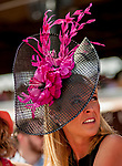 SARATOGA SPRINGS, NY - AUGUST 25: A woman wears a fancy fascinator on Travers Stakes Day at Saratoga Race Course on August 25, 2018 in Saratoga Springs, New York. (Photo by Carson Dennis/Eclipse Sportswire/Getty Images)