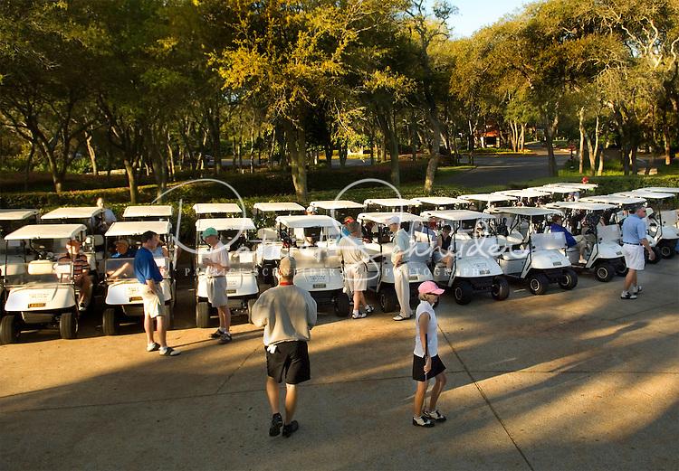 Golf carts wait to be used in Amelia Island, FL