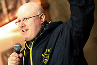 Actor and comedia Matt Lucas switches on the Christmas Lights at Hay on Wye, Wales, UK.