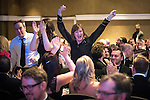 © Joel Goodman - 07973 332324 . 03/03/2016 . Manchester , UK . Cheering Team of the Year Employment DAC Beachcroft . The Manchester Legal Awards from the Midland Hotel . Photo credit : Joel Goodman