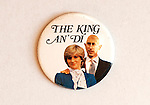 "The King an' Di badge celebration of the marriage of Prince Charles and Lady Diana Spencer. A play on the words ""The King and I ""from the 1956 Yul Brynner film of that title. Charles was mocked for a bald patch."