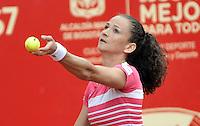 BOGOTA - COLOMBIA - 13-04-2016 Amra Sadikovic of Switzerland, sirve a Marina Duque de Colombia, durante partido por el Claro Colsanitas WTA, que se realiza en el Club El Rancho de Bogota. / Amra Sadikovic of Switzerland, serves to Lara Marina Duque of Colombia, during a match for the WTA Claro Colsanitas, which takes place at Club El Rancho de Bogota. Photo: VizzorImage / Luis Ramirez / Staff.
