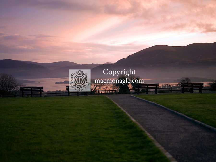 The path to serenity…An November evening shot at Aghadoe Killarney overlooking Lough Lein showing a newly constructed path and park benches giving magnigicience to the view.<br /> Pic ture by Don MacMonagle