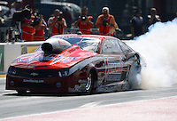 Sept. 14, 2012; Concord, NC, USA: NHRA pro stock driver Greg Anderson during qualifying for the O'Reilly Auto Parts Nationals at zMax Dragway. Mandatory Credit: Mark J. Rebilas-