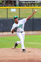 Clinton LumberKings pitcher Raymond Kerr (8) warms up in the bullpen prior to a Midwest League game against the Lansing Lugnuts on July 15, 2018 at Ashford University Field in Clinton, Iowa. Clinton defeated Lansing 6-2. (Brad Krause/Four Seam Images)