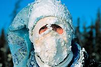 Ice sculptor with a snow caked face, Fairbanks, Alaska