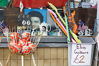 Pictured: Elvis related items for sale in one of the shops. Sunday 29 September 2019<br /> Re: Porthcawl Elvis Festival in south Wales, UK.