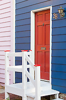 A brightly colored door and house in historic Annapolis, Maryland.