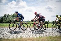 First breakaway group of the day including Mauri Vansevenant (BEL/Deceuninck - Quick Step) & Brent Van Moer (BEL/Lotto Soudal)<br /> <br /> Belgian National Championships 2021 - Road Race<br /> <br /> One day race from Waregem to Waregem (221km)<br /> <br /> ©kramon