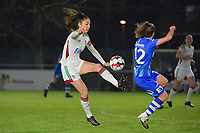 OHL's Amber Tysiak (L) and Gent's Jasmien Mathys (R) pictured during a female soccer game between  AA Gent Ladies and Oud Heverlee Leuven on the 9th matchday of the 2020 - 2021 season of Belgian Scooore Womens Super League , friday 11 th of December 2020  in Oostakker , Belgium . PHOTO SPORTPIX.BE | SPP | DIRK VUYLSTEKE