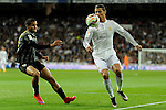 Real Madrid´s Cristiano Ronaldo and Malaga´s Roberto Jose Rosales during 2014-15 La Liga match between Real Madrid and Malaga at Santiago Bernabeu stadium in Madrid, Spain. April 18, 2015. (ALTERPHOTOS/Luis Fernandez)