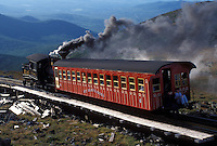 Mount Washington, NH, Breton Woods, White Mountain National Forest, New Hampshire, Mt. Washington Cog Railway train carries passengers to the summit of Mount Washington in the White Mountain Nat'l Forest.
