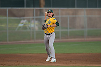 AZL Athletics third baseman Austin Piscotty (13) makes a throw to first base during an Arizona League game against the AZL Giants Black at the San Francisco Giants Training Complex on June 19, 2018 in Scottsdale, Arizona. AZL Athletics defeated AZL Giants Black 8-3. (Zachary Lucy/Four Seam Images)