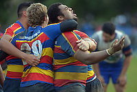Tawa propTaniela Koroi celebrates the 20-13 win at the final whistle during the Wellington Club Rugby Jubilee Cup match between Tawa and Northern United at Lyndhurst Park, Tawa, Wellington, New Zealand on Saturday, 30 June 2012. Photo: Dave Lintott / lintottphoto.co.nz