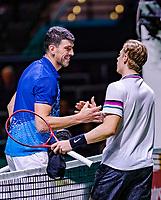 Rotterdam, The Netherlands, 12 Februari 2019, ABNAMRO World Tennis Tournament, Ahoy, first round singles: Dennis Shapovalov (CAN) - Franko Skugor (CRO),<br /> Photo: www.tennisimages.com/Henk Koster