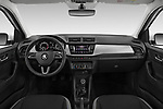 Stock photo of straight dashboard view of 2019 Skoda Fabia-Combi Ambition 5 Door Wagon Dashboard